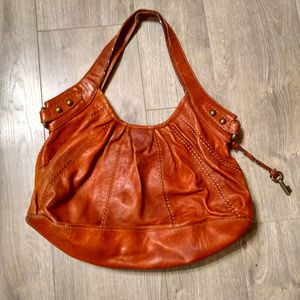 Red/Brown Leather Fossil Hobo Bag